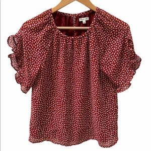 Madewell Red Floral Blouse XS